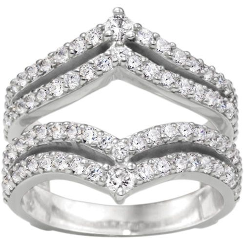 diamond wedding ring guard and enhancer mounted in 10k white gold - Wedding Ring Guard