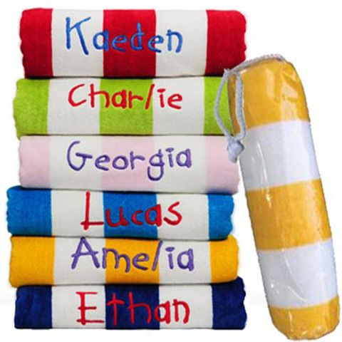 Kids Personalised Beach Towel and Pvc Swimmer Bag — Yellow Duck Baby Gifts and Hampers #personalisedbeachtowels #summerfun #kidsgifts