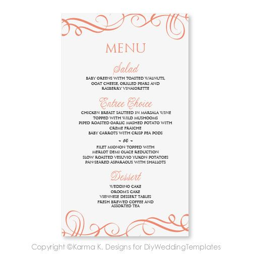 15 best DIY Wedding Menu Templates - Instant Download images on - microsoft word menu templates
