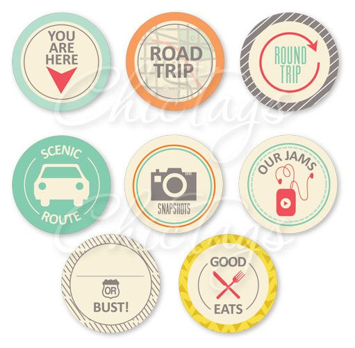 Road Trip Icons - set of 8 - project life