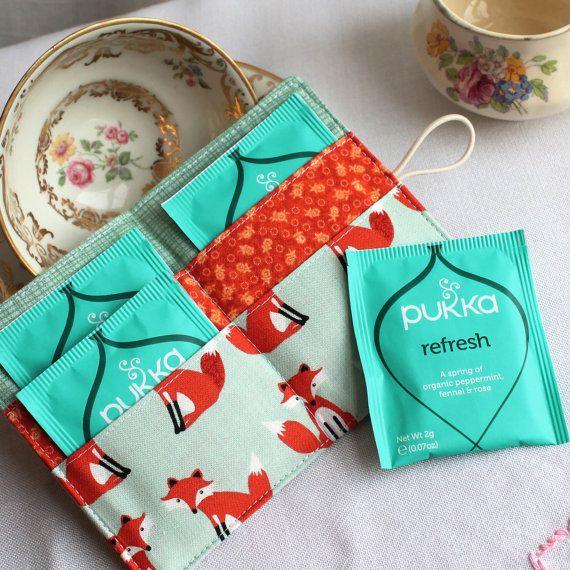 Little foxes tea wallet travel teabag holder woodland