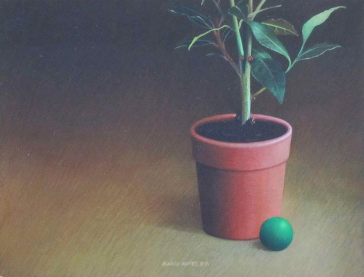 Vaso com um loureiro/acrílico sobre tela/18x24 cm/1989