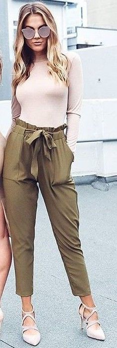Nude Top + Khaki Work Up Pants                                                                             Source