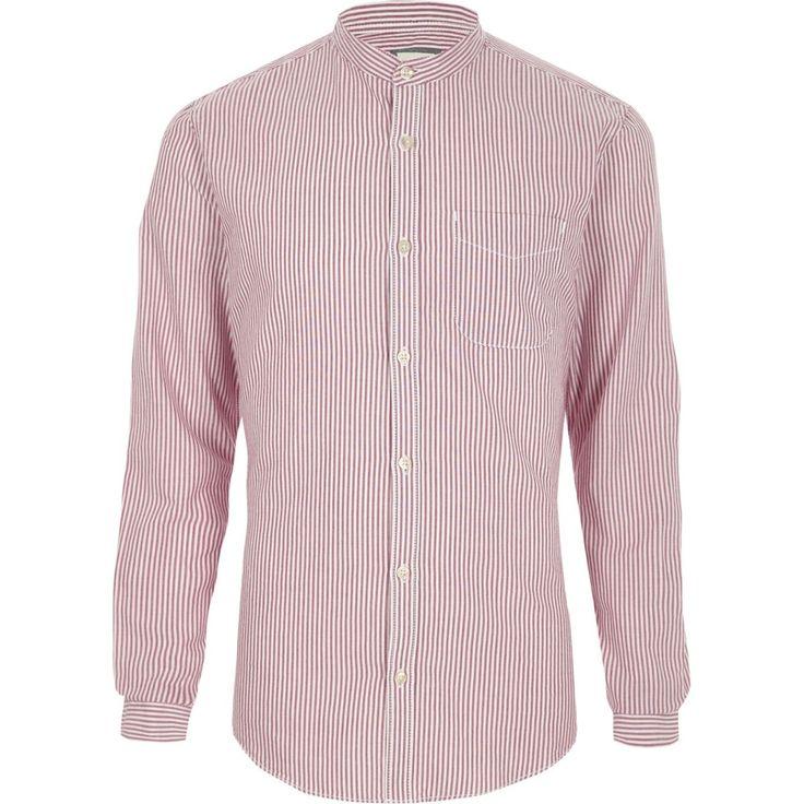 Purple stripe grandad Oxford shirt - Long Sleeve Shirts - Shirts - men