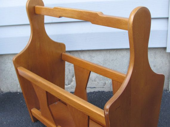 mid century modern wooden magazine rack milbern creations walnut