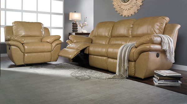 Butterscotch Leather Reclining Sofa.