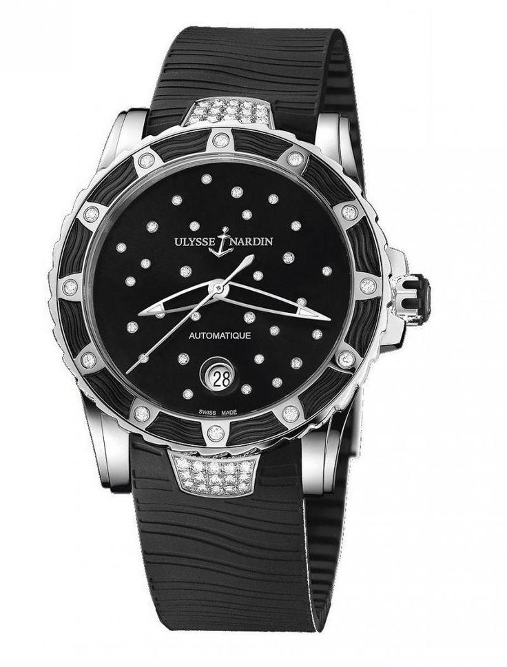 Ulysse Nardin 8153-180E-3C/22 Lady Diver Starry Night. #ulyssenardin - черные, белые - швейцарские женские наручные часы