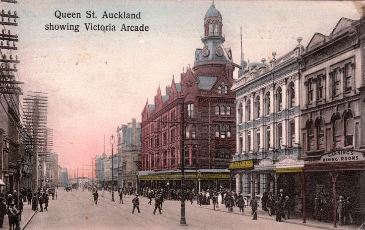 Queen Street, Auckland showing Victoria Arcade. Postcard dated the 3rd July 1911 from the W. & A. Series. Phototyped in Saxony.