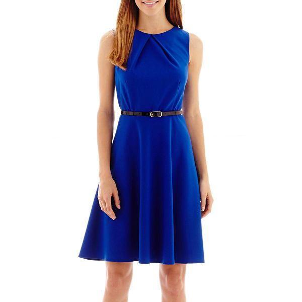 Alyx® Sleeveless Belted Fit N Flare Dress - JCPenney: Alyx® Sleeveless Belted Fit N Flare Dress - JCPenney