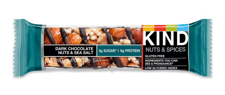 Sweet cravings ✔ salty cravings ✔ healthy cravings ✔. Our best-selling bar is a simple blend of Brazilian sea salt sprinkled over whole nuts and drizzled with dark chocolate. With 5g of sugar, it's a satisfying, nutty snack that only seems indulgent. This bar has 5g sugar; the average nutrition bar has 12g sugar. Contains 15g of fat per bar. Contains almonds, peanuts and soy. Made in facility that processes peanuts, tree nuts, soy and sesame seeds. OU.