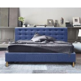 Double Size Fabric Buttoned Bed Frame (Oslo Collection, Jeans Blue)