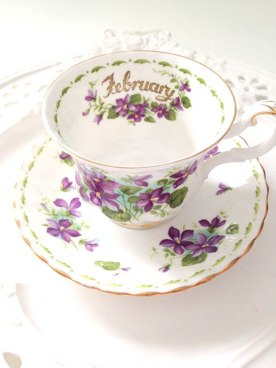 Vintage English Royal Albert Bone China Violets Pattern Teacup and Saucer February Birthday Gift Inspiration