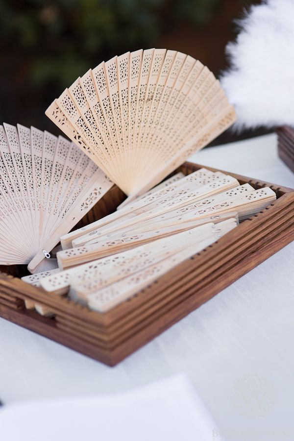 Vintage Fan Party Favors for Wedding by Brandon Wong Photography (http://www.brandonwongphotography.com)