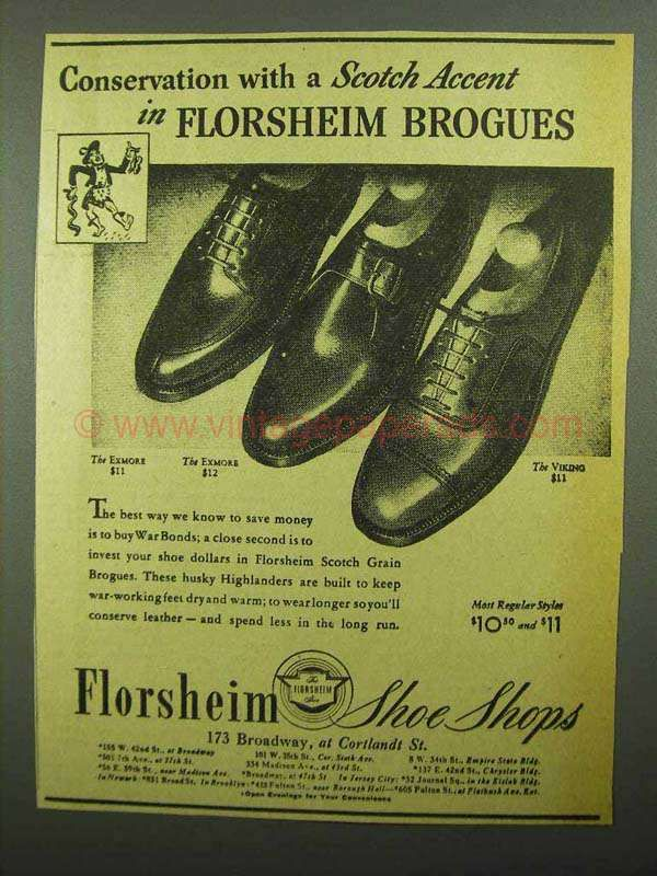 1942 Florsheim Exmore and Viking Shoes Ad - Scotch