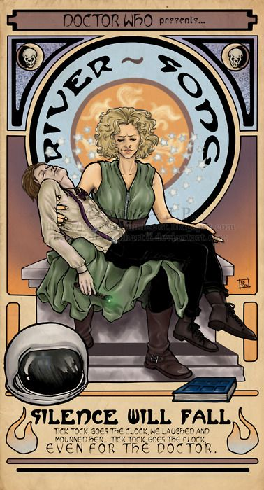 silence will fall.  river song: Illustrations Art, Art Nouveau, Doctors Who Art, The Doctors, Clock, Doctorwho, Rivers T-Shirt, Rivers Songs, Dr. Who