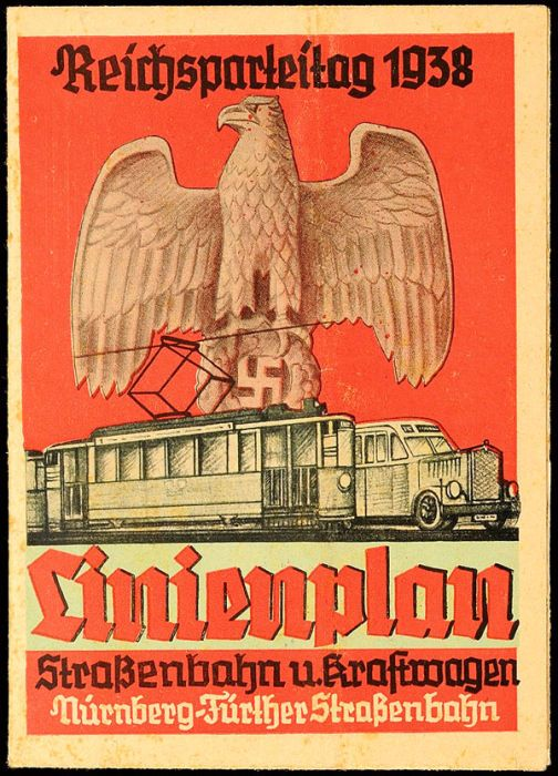 Party Rallies   1938, Nuremberg Nazi Party Rally, route map: streetcar and Motor vehicle, folding map Nuremberg Fürther streetcar.