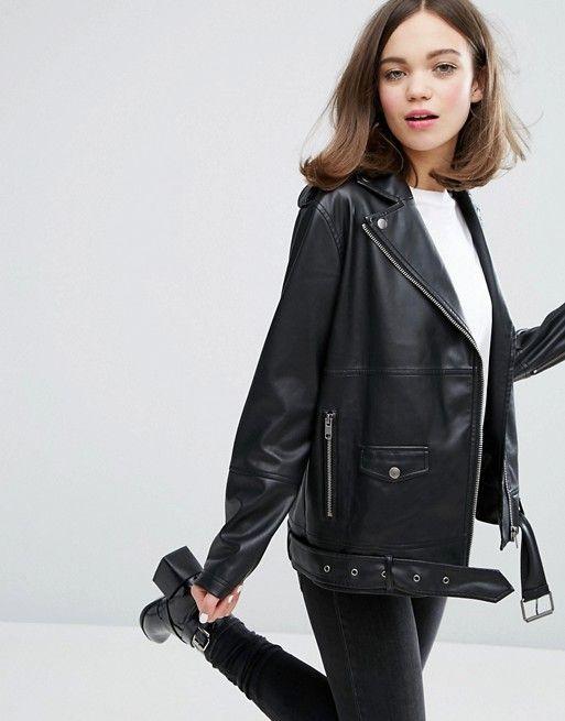 Oversized black faux leather perfecto jacket
