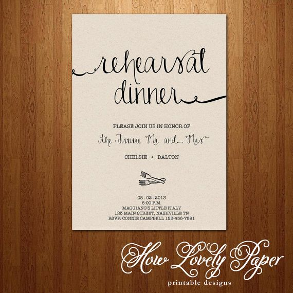 Printable Rehearsal Dinner Invitation - the Jane Collection