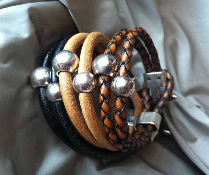 Bracelet Collection Argo : model Dioscuri in leather beige, black and woven leather brown www.montecristojewels.com