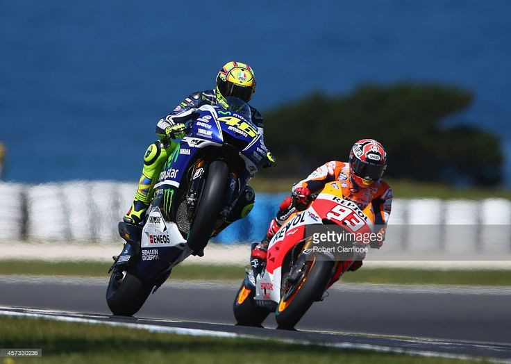Movistar Yamaha's Italian rider Valentino Rossi takes a corner during the second day of 2016 pre-season test on Phillip Island on February 18, 2016. Description from gettyimages.com. I searched for this on bing.com/images