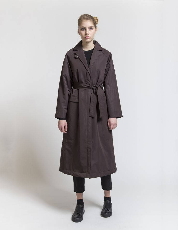 Selfhood - womensfashion outfit. Polyester jacket long with waistband.