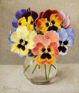 Jan  Voerman jr | 1890 - 1976 - Kleurige viooltjes in een glas. Absolutely stunning work.