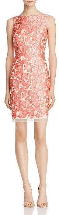 Aidan Mattox MD1E200884 Embroidered Mesh Sheath Dress