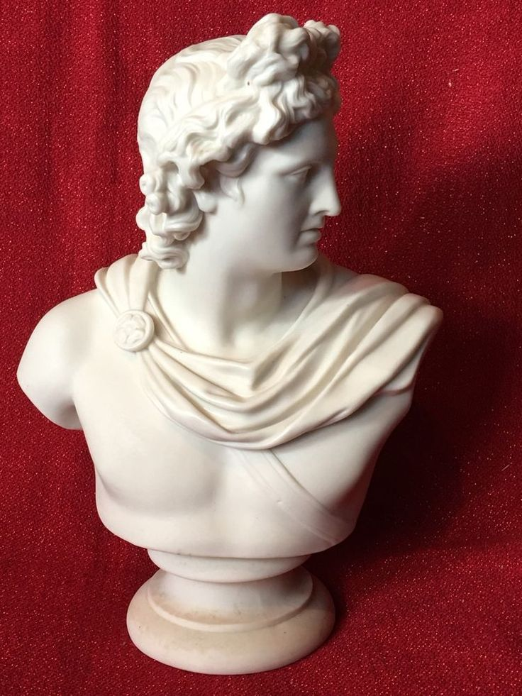 Large Antique Apollo Belvedere 1860's Parian Bust Statue #Realism #Unmarked