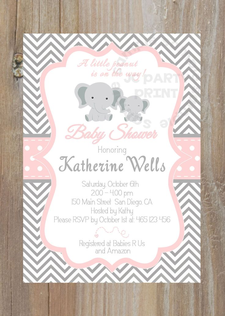 grey and pink chevron baby shower invitation. digital file, Baby shower invitations