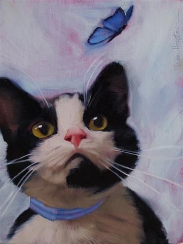 """""""Cat and Butterfly"""" by Diane Hoeptner #cat #painting"""