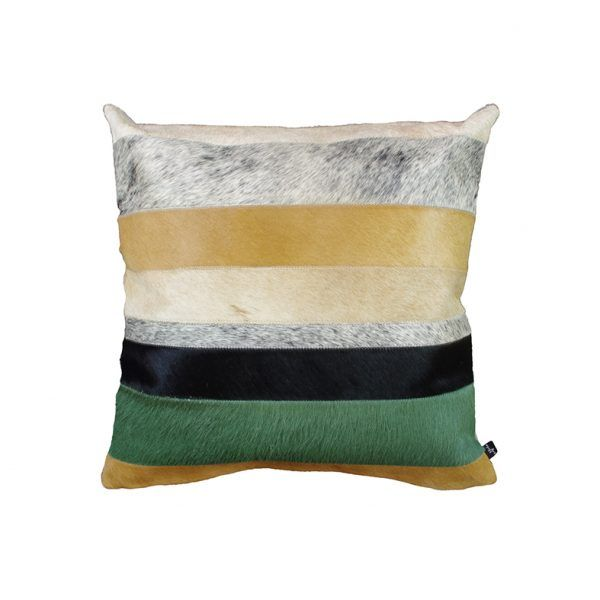DIVISION CUSHION The elegant Art Hide División Cushion features custom dyed Wasabi Green paired with complementary tones of natural cowhide in caramels, black and salt and pepper.  The División's beautiful contrasting tones add texture and warmth to any environment.  Cushion measures 50 x 50cm. Available with the option of Canvas or Suedette backing. PET Fill included.