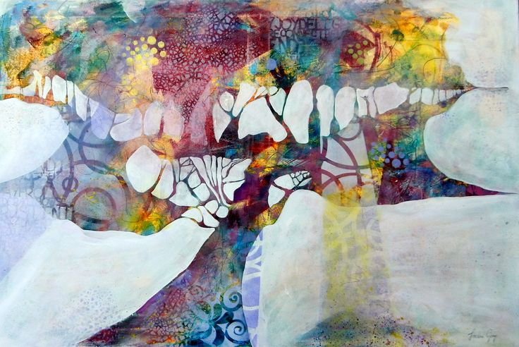 Acrylic, mixed media, Wine Tree, abstract painting by Jackie Gray