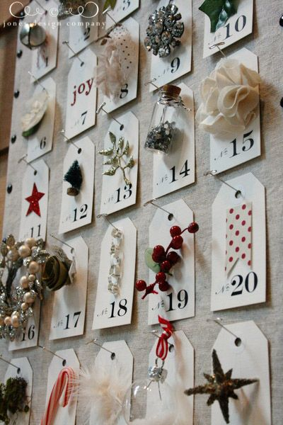 Advent board...design it to fit your home. Different colors, fabrics, tags, hang items from pin, attach with velcro, use an old picture frame...possibilities are endless!