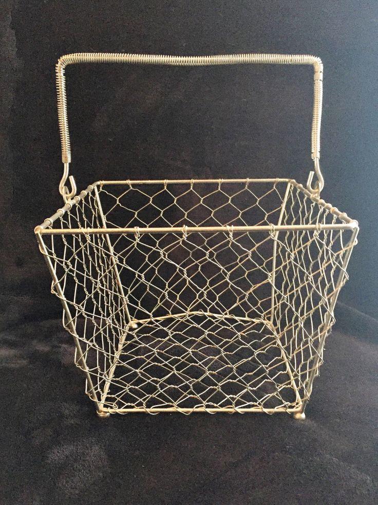 $18 vintage wire basket chicken coop wire basket farmhouse egg basket decorative farmhouse urban home decor vintage wire basket with handle by GlyndasVintageshop on Etsy