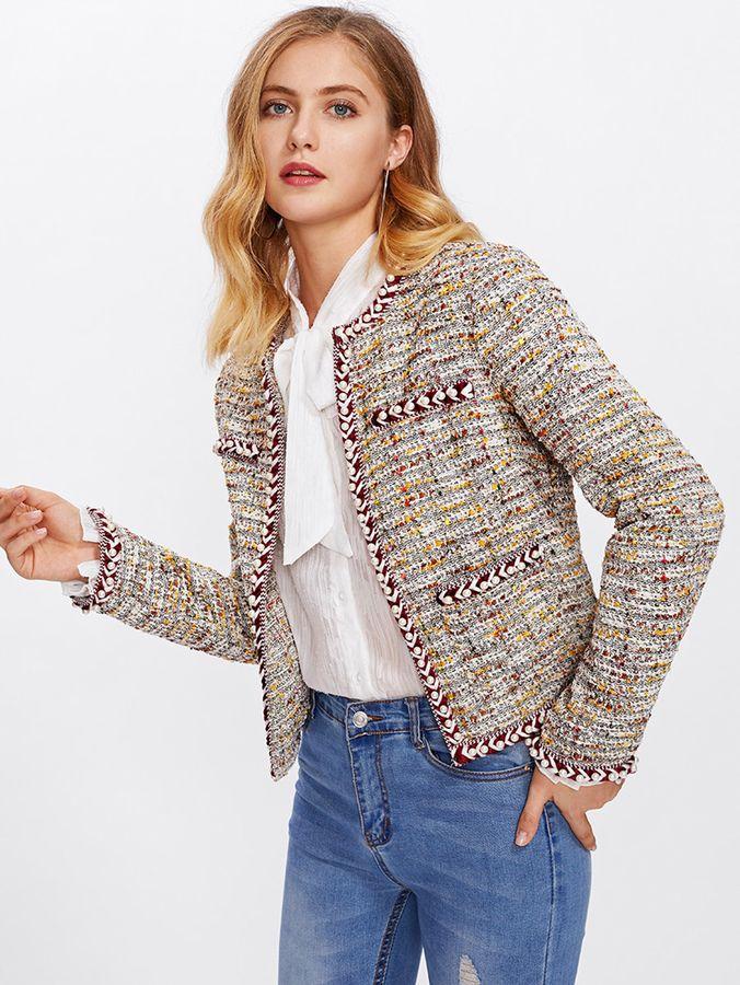 Shein Pearl Beading Braided Tape Trim Tweed Blazer