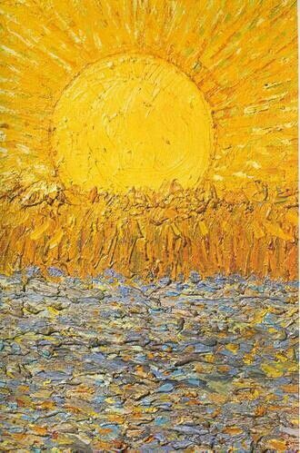 landscape art sunshine fields golden land Good Morning Vincent Van Gogh