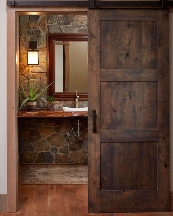 Fraud, Deceptions, And Downright Lies About Bathroom Designs With Stone For Elegant Look Exposed 178 Rustic Master Bathroom, Rustic Bathroom Shelves, Rustic Bathrooms, Pole Barn House Plans, Pole Barn Homes, Barn Bedrooms, Sliding Door Design, Beauty Room, House Design