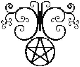 Swirl Butterfly Pentacle Counted Cross Stitch
