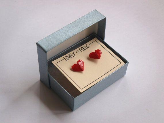 Orecchini di scatola cuore origami di LovelyFolds su Etsy