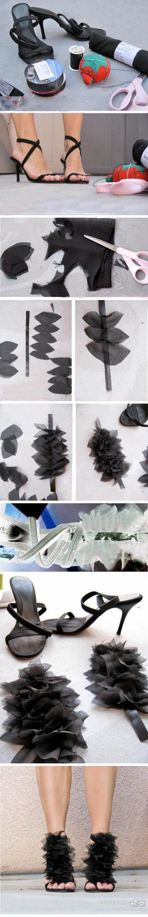 DIY a plain pair of Heels into a Faux Couture Pair of Heels by adding Petals! LOVE LOVE LOVE!!