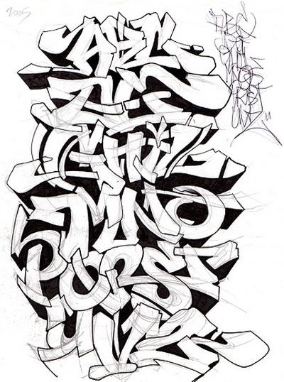 Graffiti Alphabet Sketch A-Z Letters By Mr. Poem | Graffiti Alphabets ...