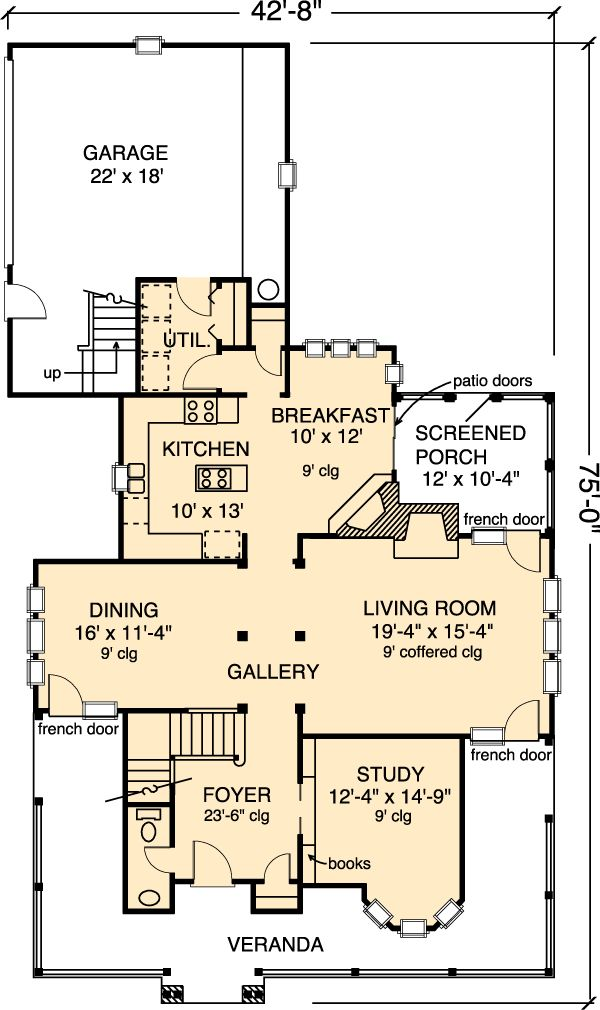 First Floor Plan of Country   Farmhouse  Victorian   House Plan 95540. It would be really nice expanded