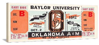 Football gifts! 1942 Oklahoma State football ticket canvas art. The best football gifts are at http://www.shop.47straightposters.com/1942-Oklahoma-State-Football-Ticket-Art-42-OSU.htm