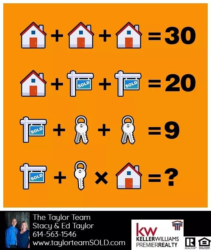 It's FRIDAY FUNDAY!  Are you ready to test your brain? Let's see if you've got what it takes to solve this equation!  Be sure to post your answer in the comments below! #taylorteamSold #centralohiorealestate #brainteaser #fridayfunday #readytogobacktoschool  #mathskills