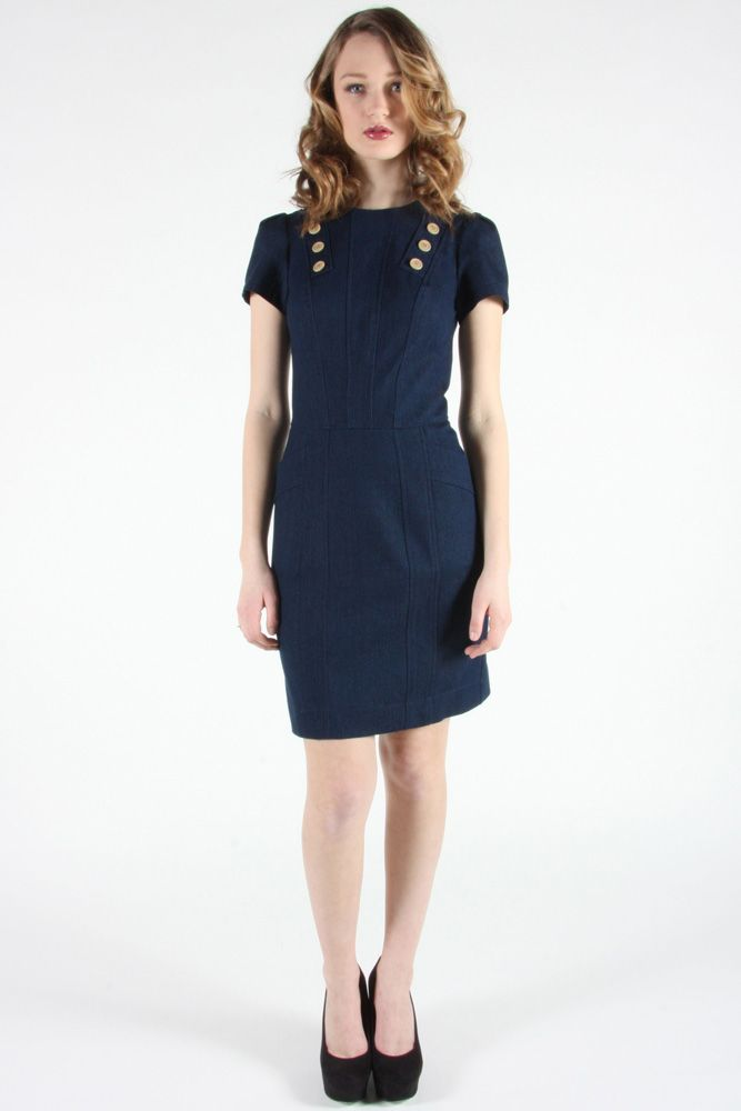 Gallinule Dress by Birds of North America.  Fitted stretch denim dress.