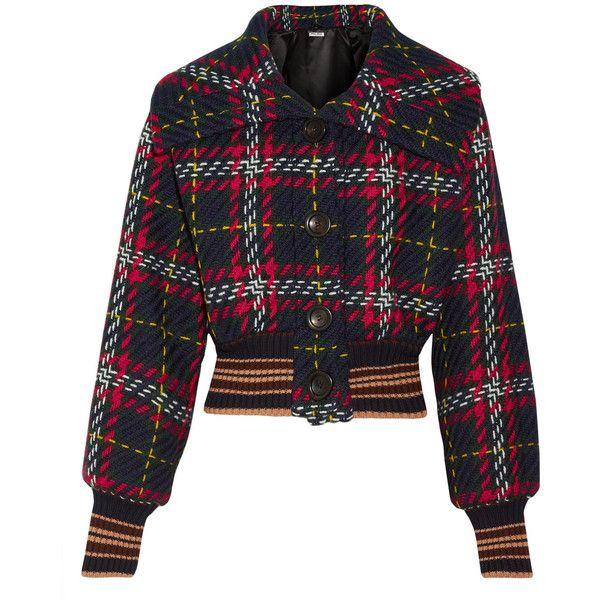 Miu Miu Cropped tartan wool-tweed bomber jacket (9.050 NOK) ❤ liked on Polyvore featuring outerwear, jackets, miu miu, tops, tweed, black, wool bomber jacket, flight jackets, cropped bomber jacket and flight bomber jacket