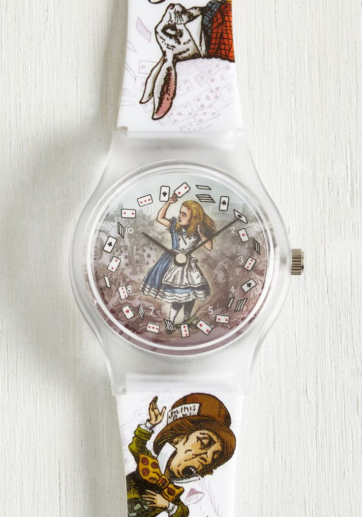 It's a Wonderland World Watch. Youll never be late for that date when you have this Alice in Wonderland watch to remind you of the time! #multi #modcloth