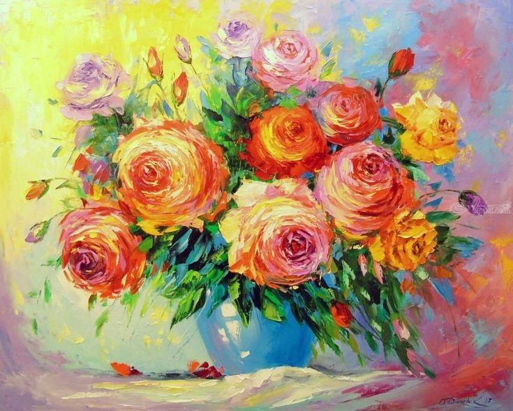 Розы, картины, изобразительное искусство, импрессионизм, ботанические, цветочные, холст, масло, живопись, автор Ольха Вячеславовна Дарчук