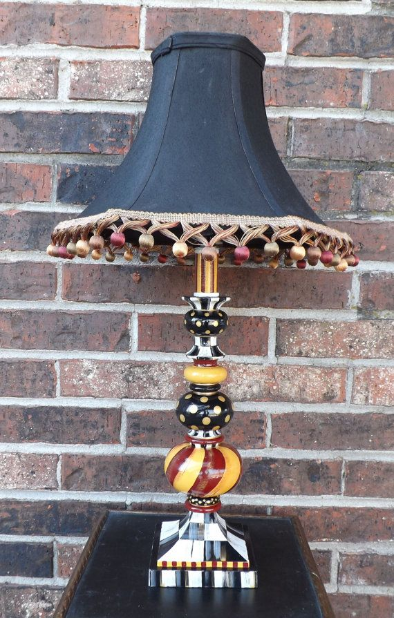 Whimsical Hand Painted Lamp Black White Checks by WhimsicalChecks