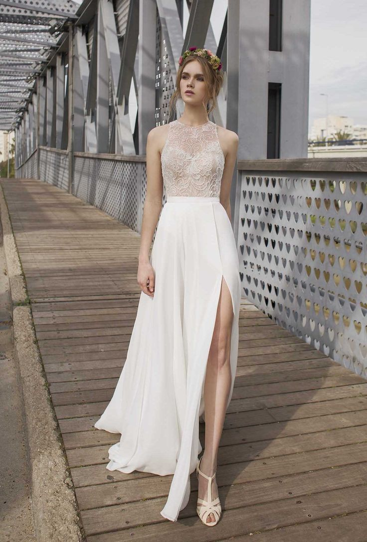 Halter Neck Lace Wedding Dress By Limor Rosen Bridal